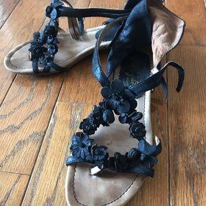 Anthropologie Strappy Floral Sandal